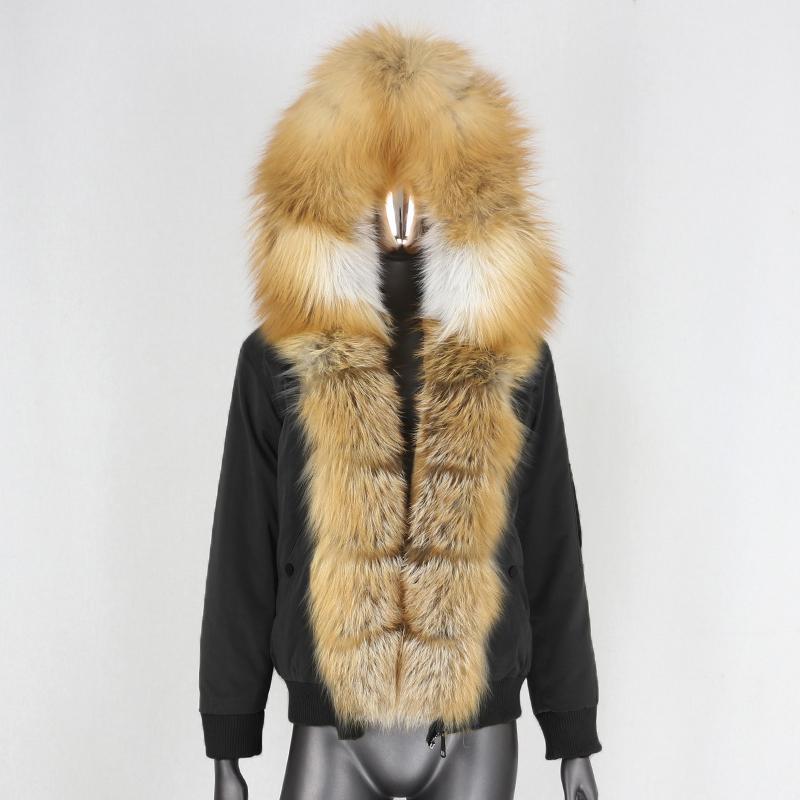 Blueessfair 2020 Su Geçirmez Bombacı Parka Kış Ceket Kadınlar Doğal Fox Kürk Yaka Hood Kalın Sıcak Dış Giyim Gerçek Kürk Yeni