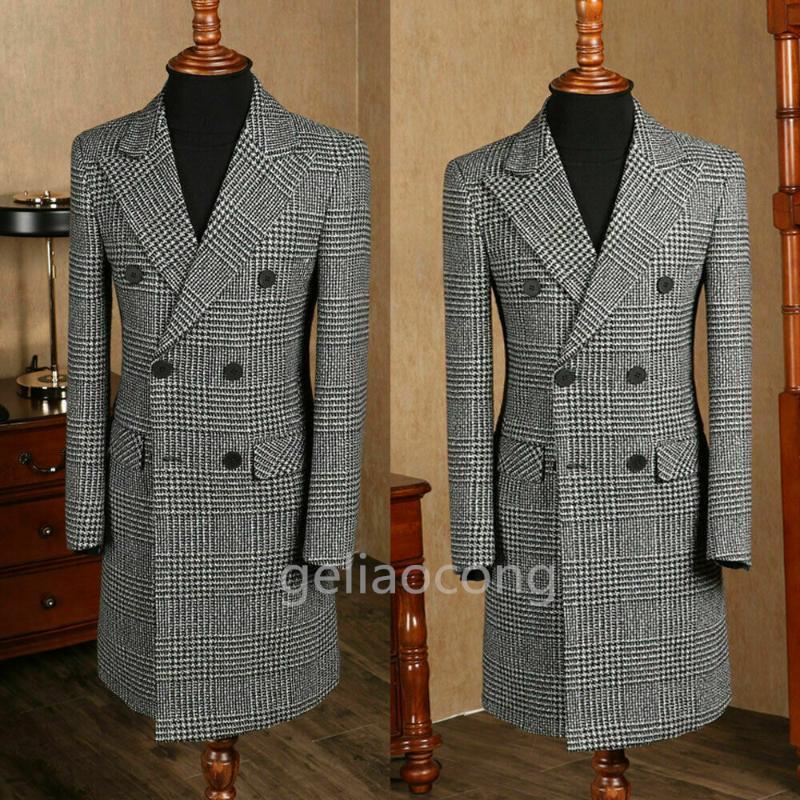 Erkek Takım Elbise Blazers 2021 Houndstooth Uzun Blazer Ve Pantolon Seti Slim Fit Yakışıklı Damat Düğün Balo Akşam Yemeği için Smokin