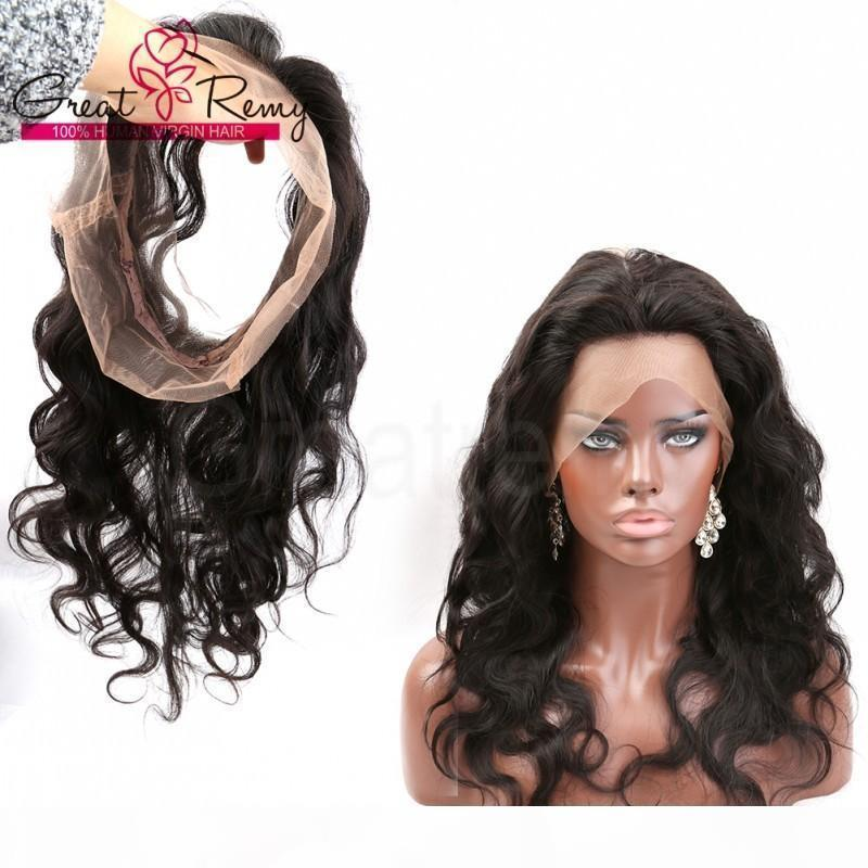 Greatremy 360 Lace Frontal Wig 22*4*2 inch Brazilian Hair 100% Unprocessed Human Hair Body Wave Full Lace Band Frontal with Baby Hair