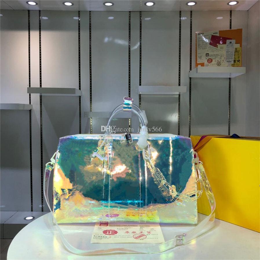 2021 Роскошные Сумки Сумки Креста Лазерный ПВХ Прозрачный Duffle Сумка Блестящая Цветовая Камера Багаж Достигая Сумка Большая Емкость Сумочка Сумки