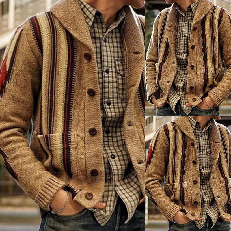 Homens Casuais Tops Shawl Collar Sweater Cardigan Manga Longa Zip-up Casaco de malha Knitwear Moda Jacquard Casacos Masculinos Outono Novo