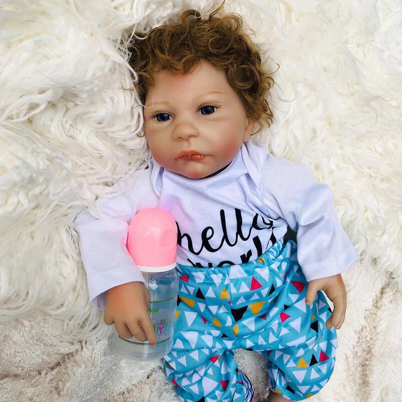 Real 45cm Tissu corps silicone garçon reborn bébé jouets bébés babies poupée perruque cheveux cadeau gratuits livraison gratuite