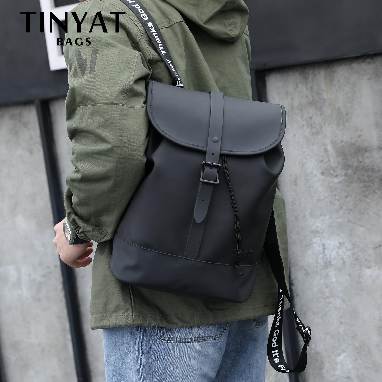 Tinyat mens laptop mochila para 14 polegadas homem mochila bolsa de couro de couro casual mochila masculina bagpack viajar mochila