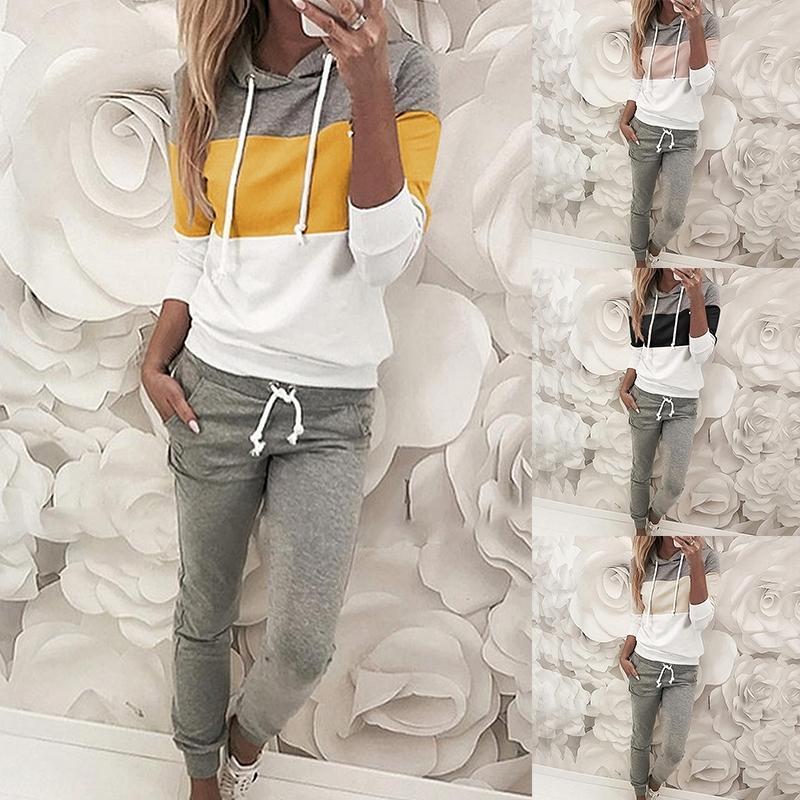 2020 Повседневная трексуита Женская 2 шт Набор женская мягкая толстовка и брюки спортивный костюм Широкая нога одежда ROPA de Mujer