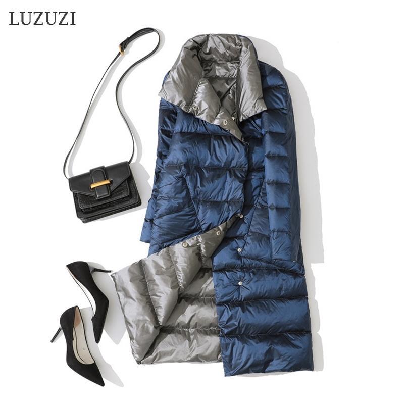 Luzuzi Double face Women's Winter Down Jacket Fashion Double manteau Down Down Down Femme Blanc Down Down Parka 201214