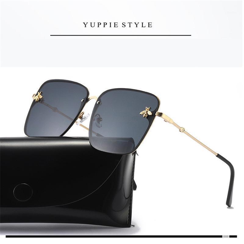2020 Occhiali da sole bee quadrati Donne Donne Designer Designer in metallo telaio di metallo oversize occhiali da sole di moda uomini sfumature sfumature oculos uv4001