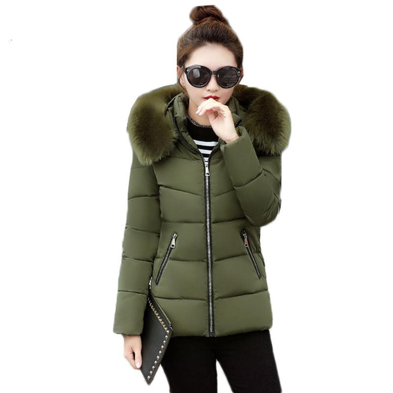 2021 새로운 패션 여성 큰 모피 면화 패딩 두꺼운 Parkas 여성 자켓 코트 슬림 따뜻한 겨울 기본 탑 Y519 OX6G