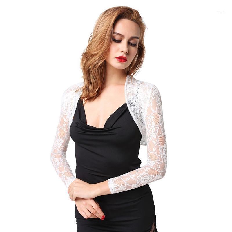 Fashion Pizzo Bolero Womens Elegante Shrug Manica Lunga Sexy Nero Nero Da Sera Sera PROM Cropped Shrugs Open Stitch Cappotto di base1