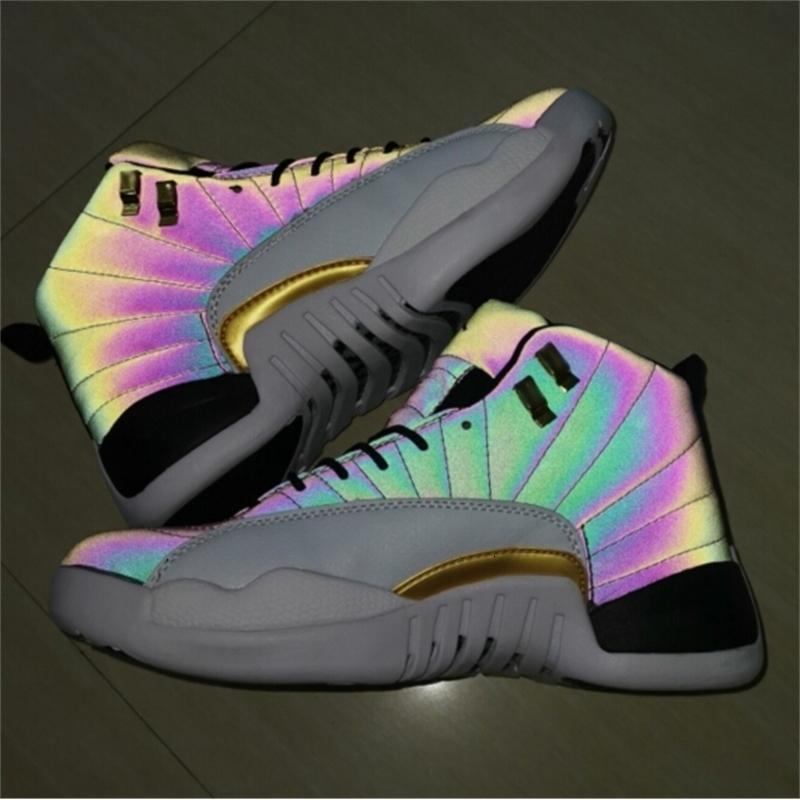 Reflejar a Chameleon 2019 12s Jumpman 3M XII 12 Flash de zapatos de baloncesto ligero para hombres deportes de alta calidad atle