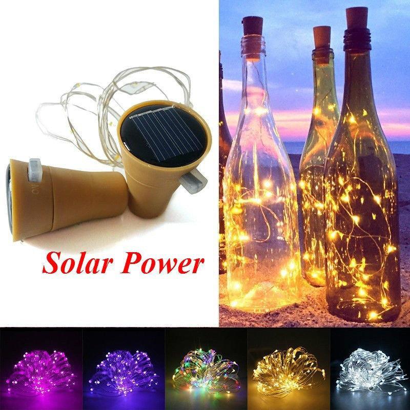 10LED/20LED Solar Wine Bottle Lights LED Fairy Copper Wire String Lights Wine Bottle Light Lamp Wedding Christmas Party Decor