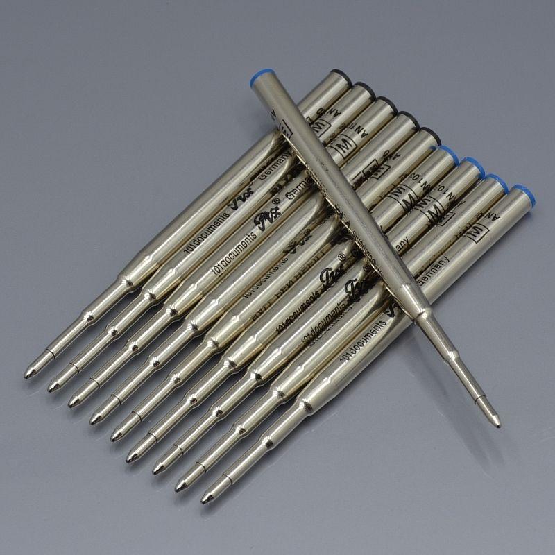 Высокое качество (10 шт. / Лот) 0,7 мм Черно-синие чернила наполнение для шариковой ручки Канцтовары Написать гладкую перо