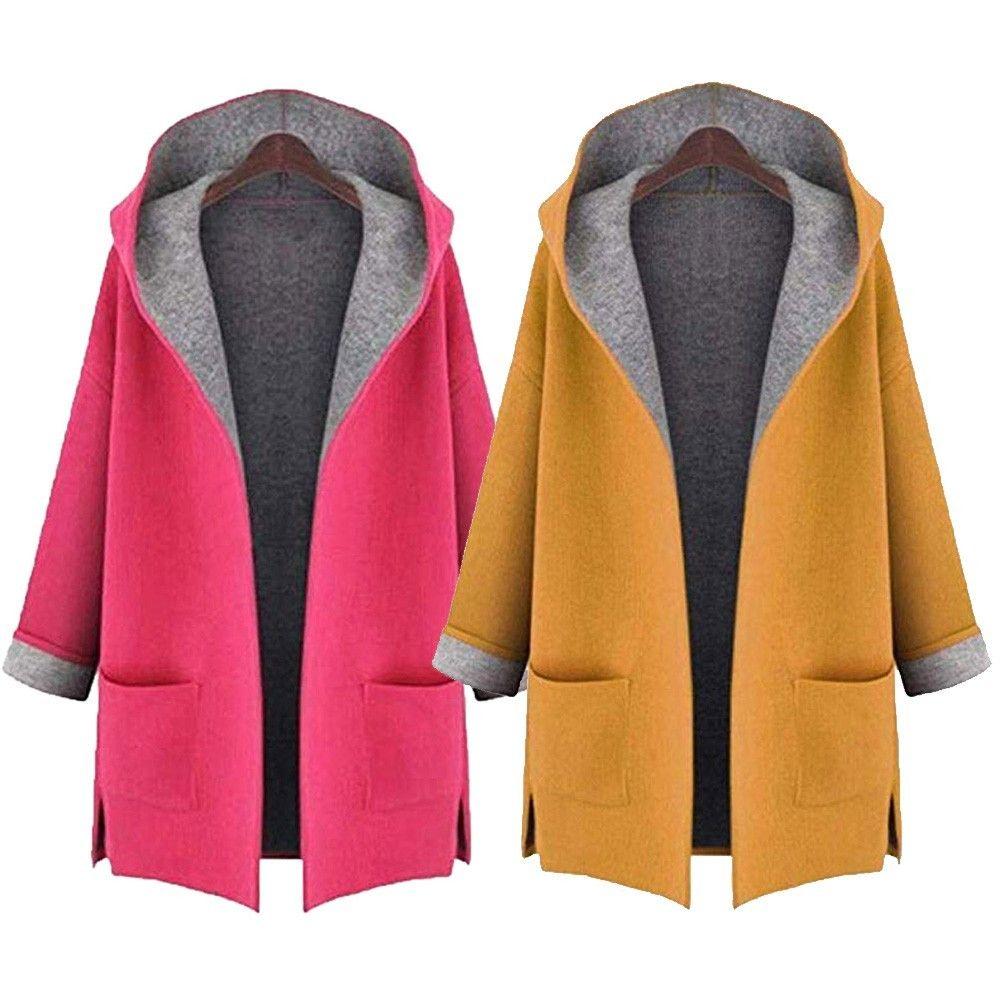 2020 de las mujeres de Fahion capa de las lanas de la chaqueta Medio Largo de gran tamaño sueltos frontal abierto Escudo abrigos amarillo, colores rosa # #by zhuliu5X1020