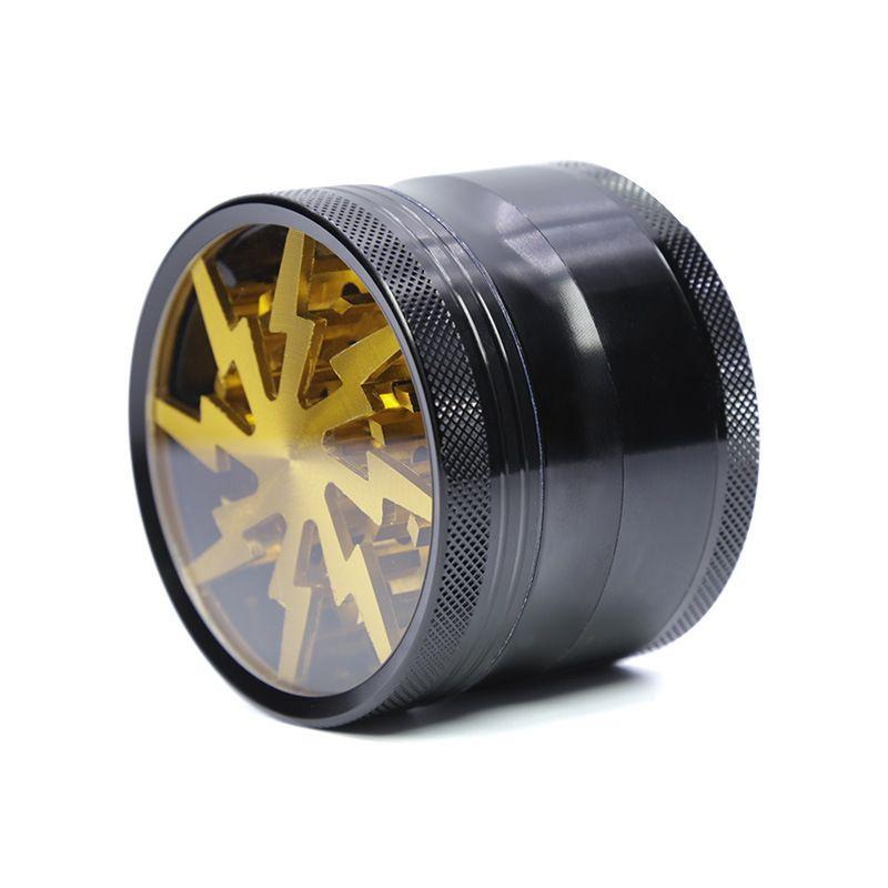 CHTOBACCO Sigara Ot Öğütücüler Dört Katmanlar Alüminyum Alaşım Öğütücü 100% Metal Dia 63mm Açık Üst Pencere ile 5 Renkli