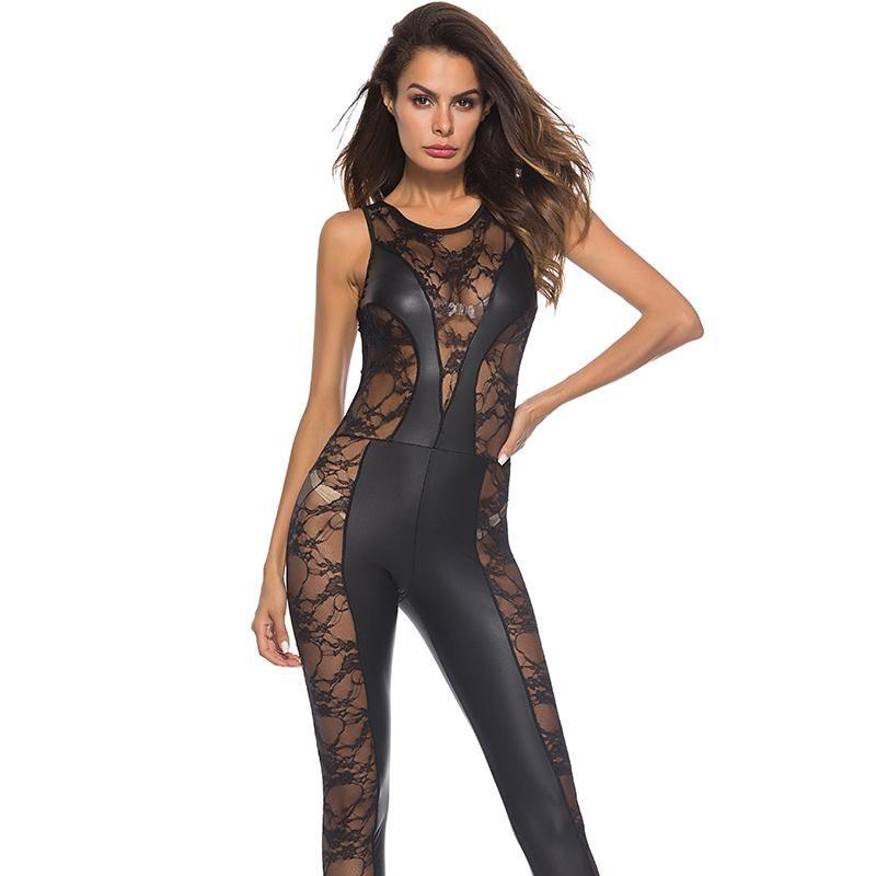 Lace Mesh Patchwork Wetlook Faux tuta sexy skinny Tuta senza maniche in vinile Catsuit Body Pole Dance Costume PU