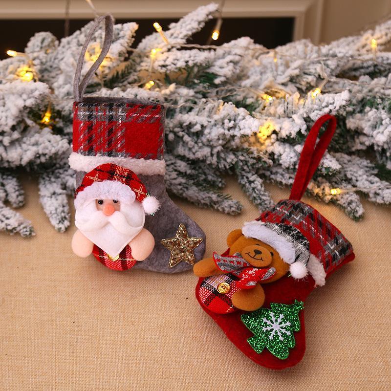 Decoraciones de Navidad Saco Saco Regalo de Navidad Bolsa de caramelo Noel Natal para el hogar Navidad Sock Decor Año 2021