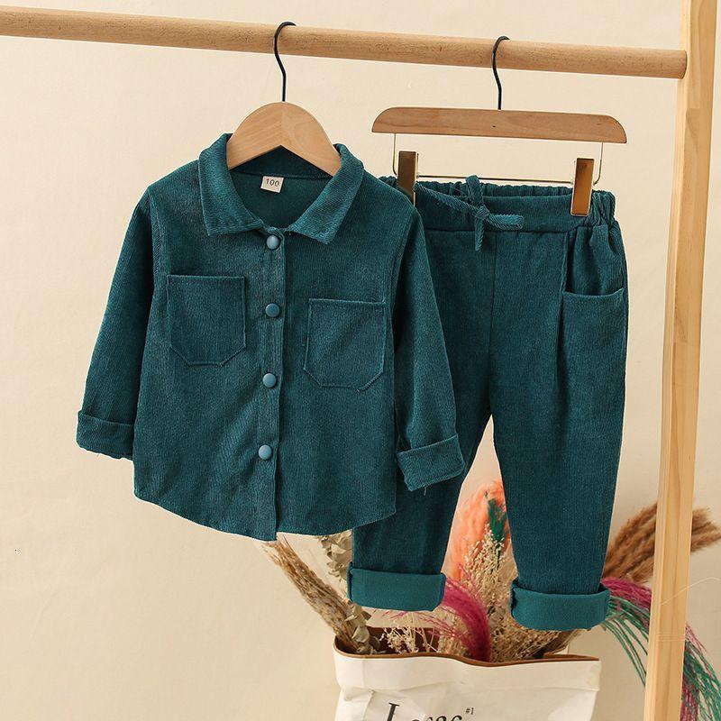 Zwy504 Новые мальчики и девушки рубашка сплошной цвет ведурой детская рубашка + брюки детская одежда носить 2 комплекта отдыха Y1117