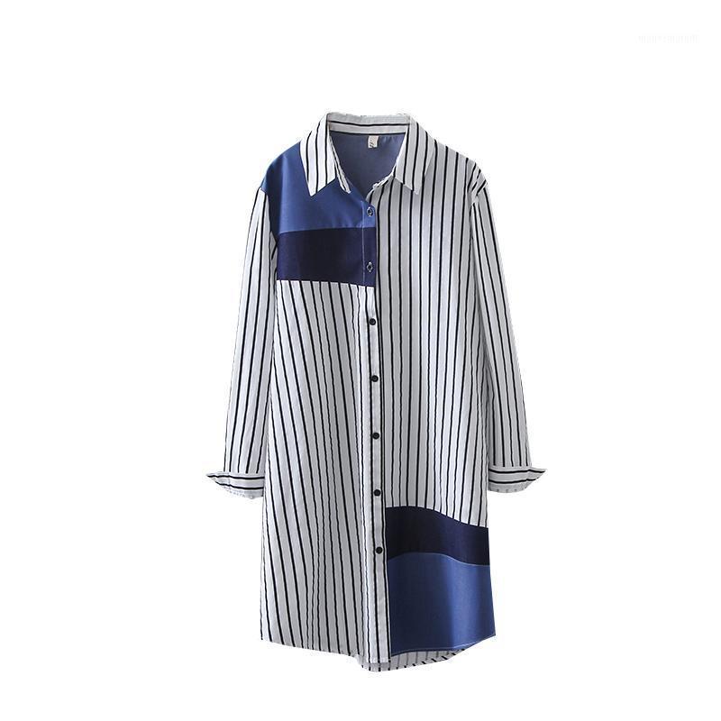 Женщины Блузки Рубашки Sondr Женщины Полосатый Хит Цвет Сплит Блуза Отворачивается с длинным рукавом Свободная подходящая Рубашка Мода Прилив Весна Лето 20211