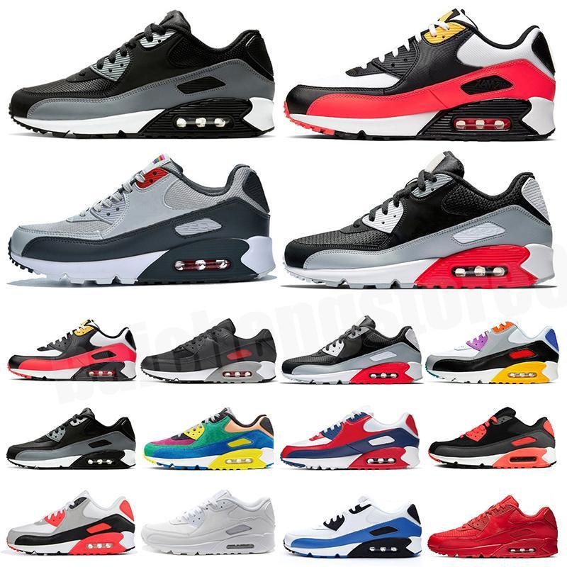 2021 Erkek Ayakkabı klasik 90 Erkek ve kadın Ayakkabı Siyah Kırmızı Beyaz Eğitmen Yastık Yüzey Nefes Koşu Ayakkabıları 36-45