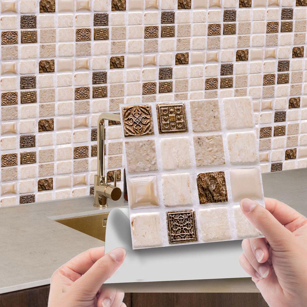 10 pcs 3D auto-adesivo mosaico telha adesivo cozinha adesivos de parede decoração