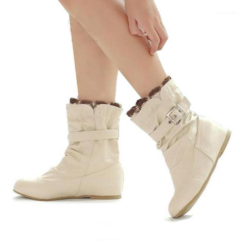 Zapatos de gran tamaño 34-43 Otoño Invierno Mujeres Botas Zapatos Mujer Ladies Sweet Ruffles Hebilla Mid-Becerro Botas Mujer1