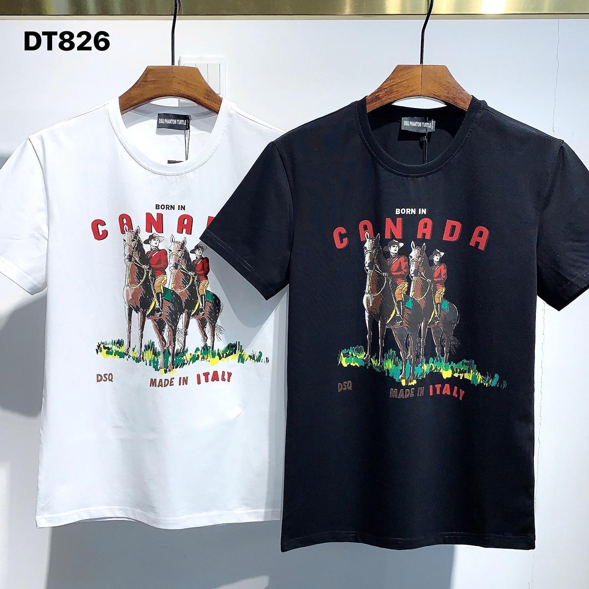 DSQ PHANTOM TURTLE 2021SS New Mens Designer T shirt Paris fashion Tshirts Summer DSQ Pattern T-shirt Male Top Quality 100% Cotton Top 1089