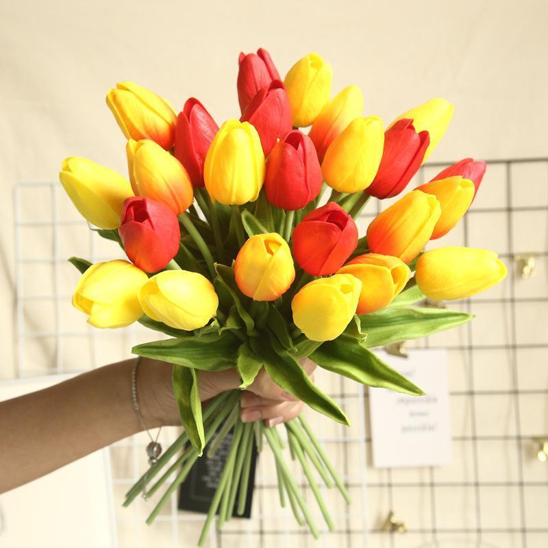 16Colors PU Mini Tulpe Blume Echte Touch Hochzeit Blume Künstliche PU Home Hochzeitsdekoration