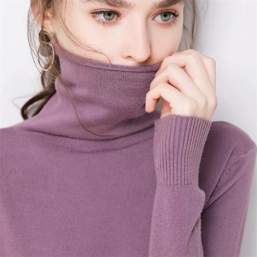 Outono macio cashmere turtleneck pulôverevers inverno feminino inverno coreano slim-fit puxar camisola mulheres roupas 201221