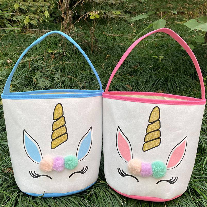 Pascua brillo unicornio canasta bolsas de conejito con peluche POM POM Dibujos animados lienzo bolso de tela de fondo Año Nuevo Regalos Egg Dulces Barrel Bucket Handbag E120904