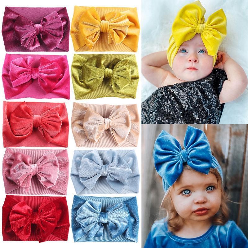 Tokdle Baby Girls Velvet Headband Soft Solid Paño Bow Turban Knot Head Wrap Wrap Wrap Stretch Hairband Girls Headbands Kids Hair Accessor