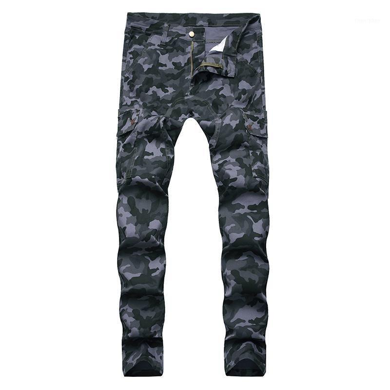 Tasche per stampa camuffamento da uomo Sokotoo Jeans Cargo Jeans Streetwear Slim Stretch Denim Pants1