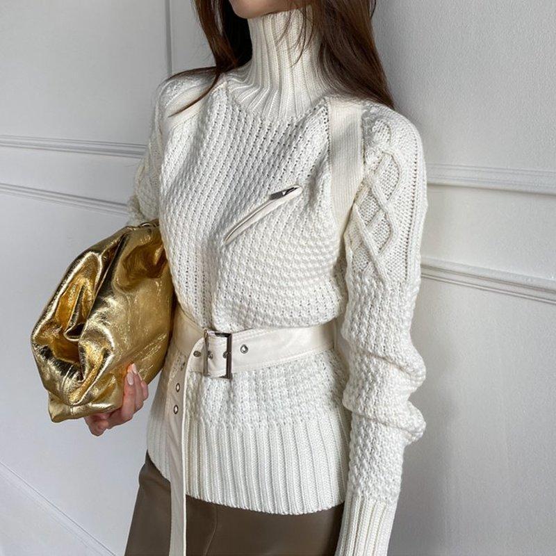 Suéter das mulheres Mulheres Turtelneck Sweater grossa agulha de malha pulôveres 2021 pista de moda cinto alto pescoço pulôver jumpers de marfim
