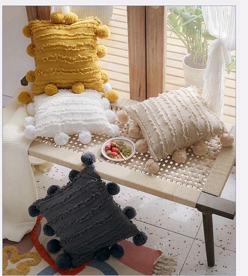 Seat floreale nappe cuscino copertura con pompon giallo grigio bianco cuscino decorativo copertura casa decorazione della casa cuscino cuscino 45x45cm lls135