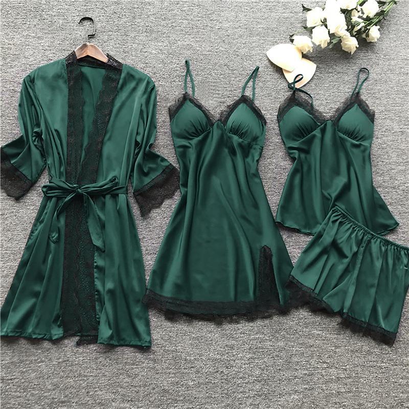 Plus Talla Lencería Mujer Pijamas Set Satin Silk Lace Tobate 4 Pieces BabyDoll Sleepwear Nightdress 11 Colores Pijama Spaghetti
