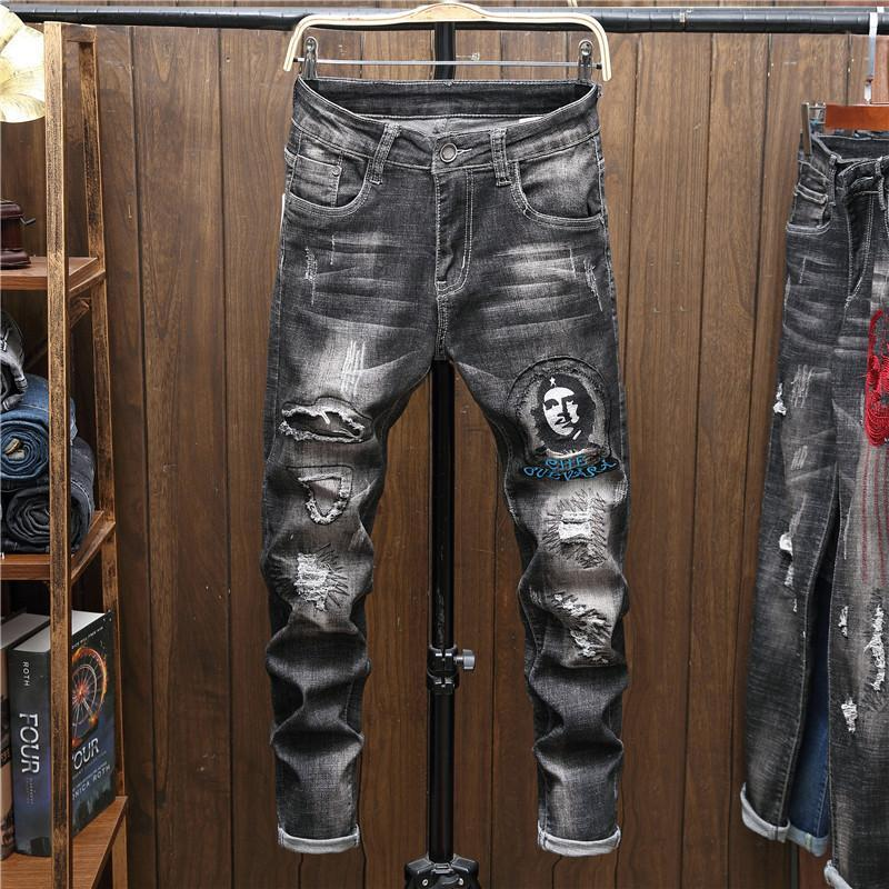 Pantalones para hombres Agujero de impresión de moda DICIONADO Elástico Lápiz STEYNY STREEWWEET 30% Promoción para hombres jóvenes