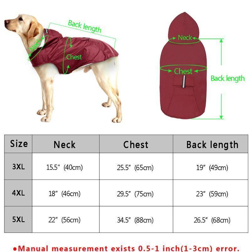 Pet grande cane impermeabile impermeabile grande cane vestiti cappotto all'aperto giacca da pioggia per Golden Retriever Labrador Husky Big Dogs SQCWXH