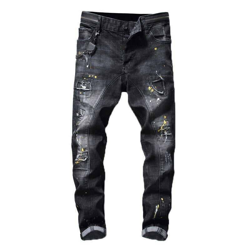 2021 Neue europäische und amerikanische Mode Herren Lässige Jeans, hochwertiges Waschen, reines Handschleifen, Qualitätsoptimierung LT2123