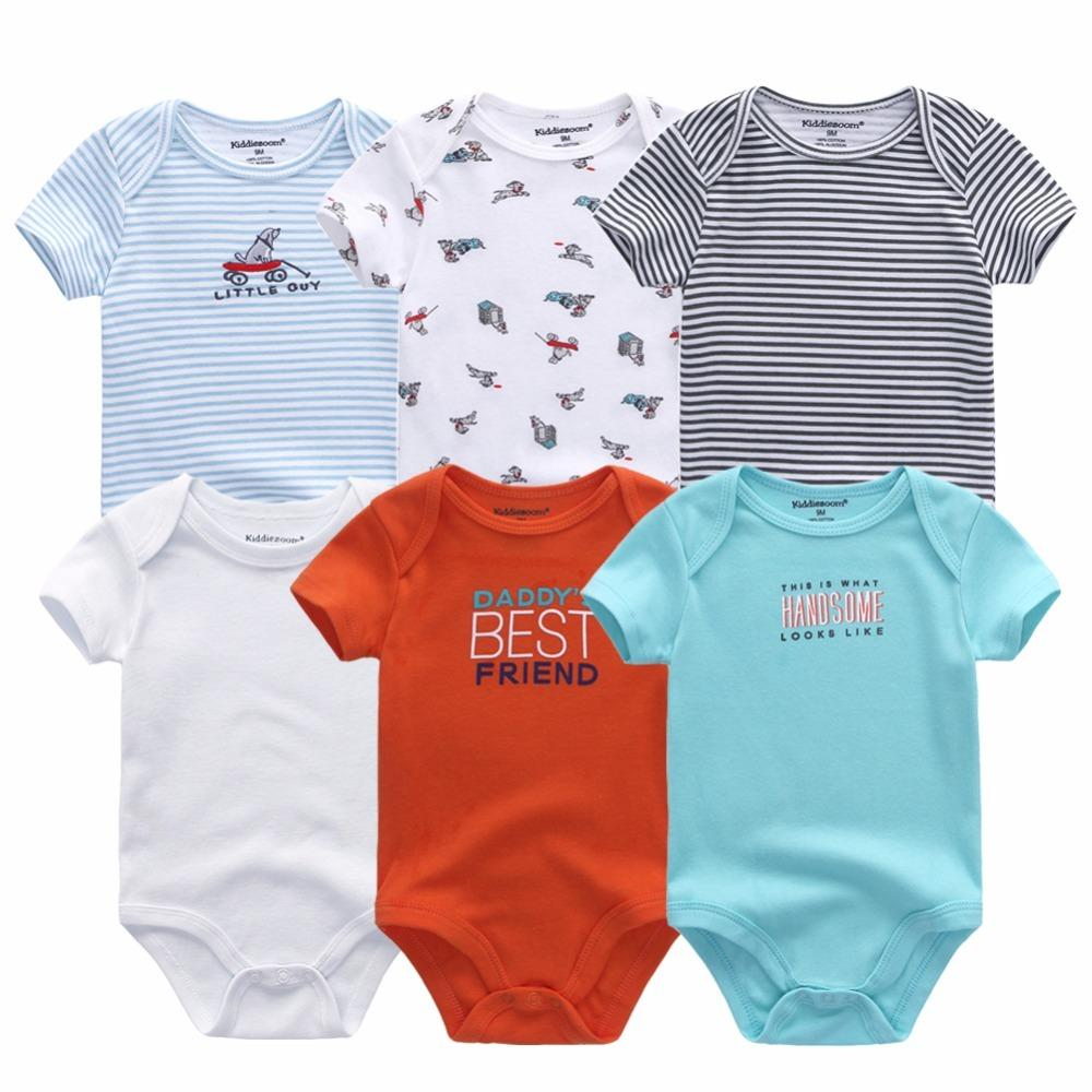 Nuovo 2019 svegli del bambino vestiti appena nati della ragazza del ragazzo che coprono insieme Stampa Roupas de bebe Baby pagliaccetti 0-12M neonato Cotton Y1113