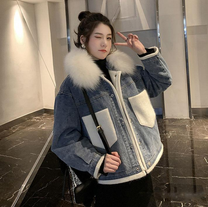 cotton-padded jacket female qiu dong han edition loose stitching joker thickening cotton-padded clothes coat # 93457