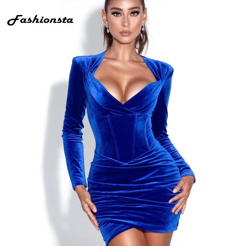 Vestidos casuales FashionSta Solid Velvet Blue Mini Funda Vestido Club de fiesta Sexy Bodycon Mujeres Primavera Otoño Profundo V Cuello Vestidos