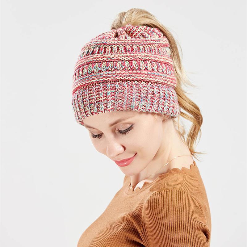 Nouvelle Arrivée Couleur mélangée Chapeau en laine tricotée Automne / Hiver Mode tricoté Chapeau de queue de queue pour femmes adultes