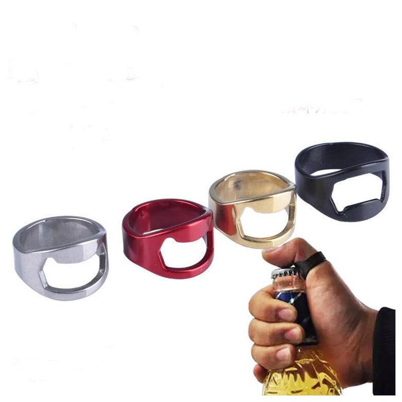 Мода Бутылка Кольца Кольца Форма Творческий Портативный Палец Кольцо Бутылки Открывалка Красочная Нержавеющая Сталь Пивной Бар Инструмент Bottel Форс Топ Продажа