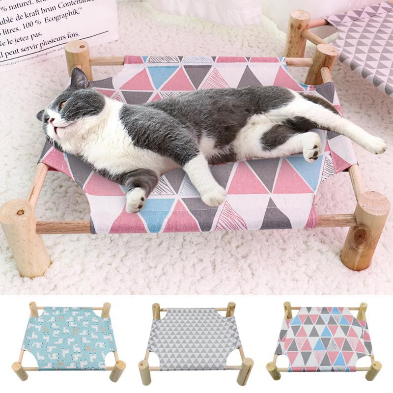 Cat Beds & Furniture Hammock Bed House Wood Canvas Pet Puppy Lounge For Small Dogs Cats Lazy Mat Cushion Lounger Sleeping Supplies