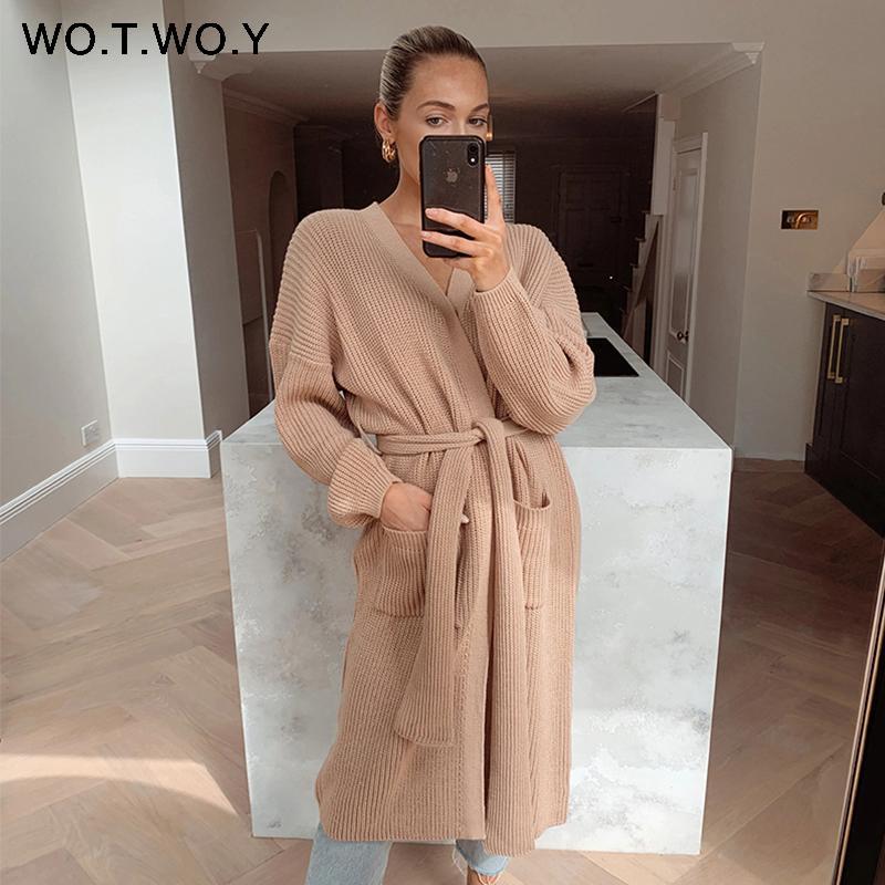 Wotwoy 2020 ремень вязаные длинные кардиганы женщин осень зима повседневная базовый свитер женщина с длинным рукавом кнопка сплошных свитеров женский LJ201017