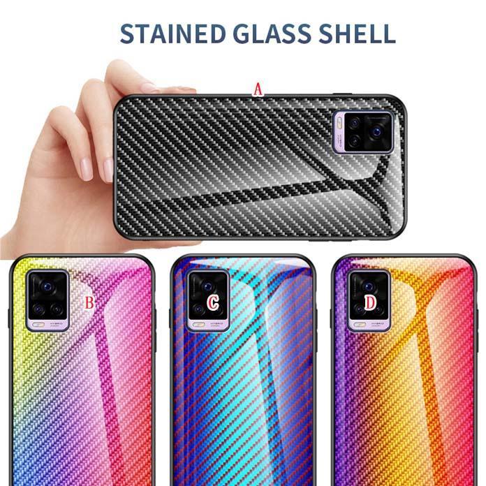 Caixa de vidro temperado de fibra de carbono suave borda tpu para iphone 12 mini 11 pro max x xs xr se2 7 plus 8 6 6 6 6 6 6 6 6 6 5s gradiente capa de telefone luxo