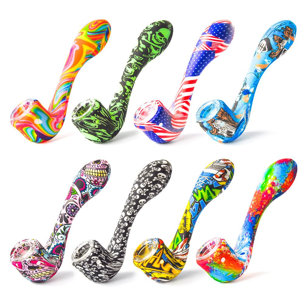 New Silicone Smoking Pipe Silicone Hand Pipe with thick glass bowl Oil Rig Glass Bongs smoke accessory