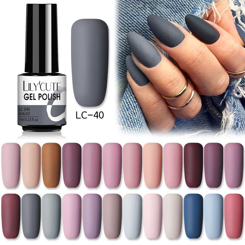 Lilycute 7ml Gel Nagellack Wintergraue Farbserie SEMI Dauermatte Top Mantel Auftrauen von UV LED Nail Art Hybrid Gel Nagel