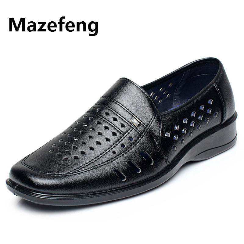 Zapatillas de vestir MAZEFENG 2021 Masculino de cuero transpirable ahueca hacia fuera dedo dedo dedo dedo dedo cordón para hombres