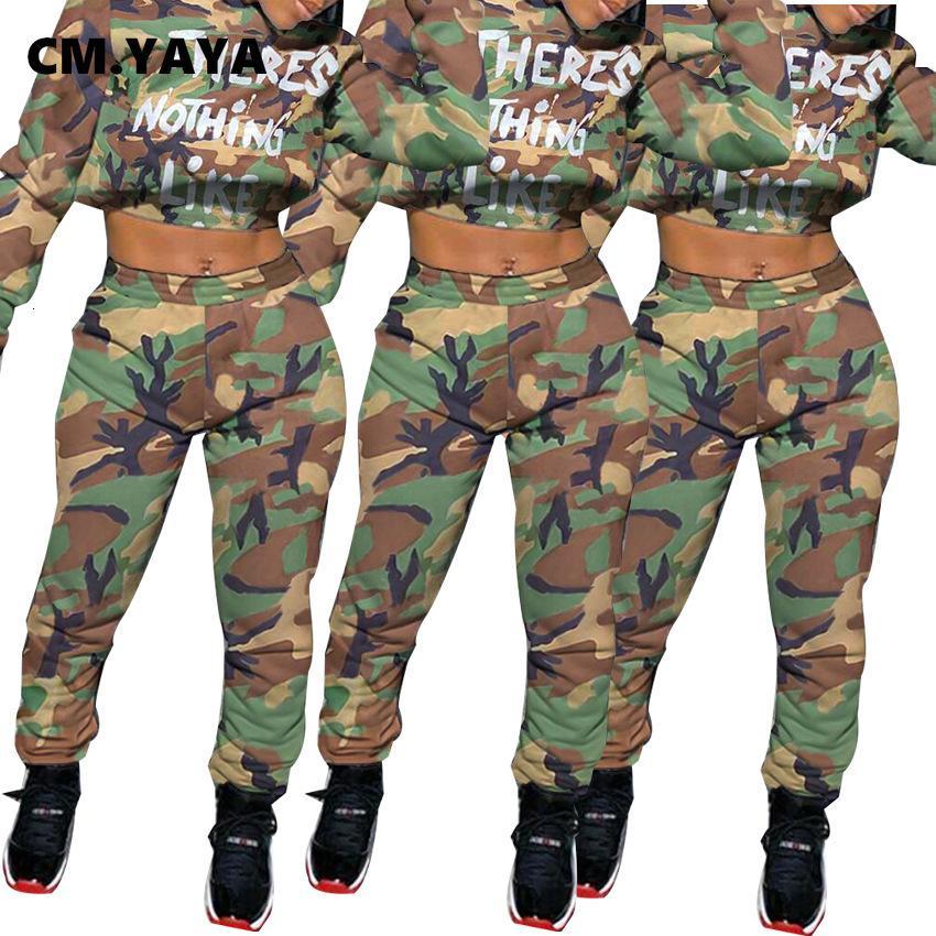 Cm. Yaya Aumutn Invierno Casual Mujeres Larga Mouw con capucha Carta de camuflaje Set