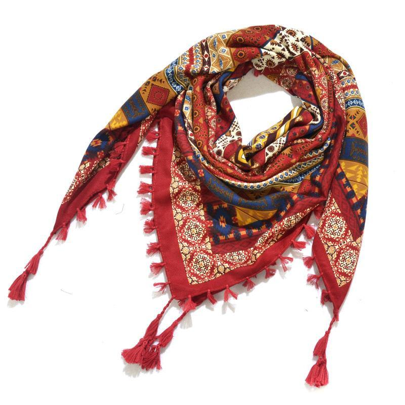 Шарфы 115 * 115 см Женщины Национальный хлопок квадратный шарф женский богемный цветочный принт шали Ретро узел кисточка бандана фулярная обертка