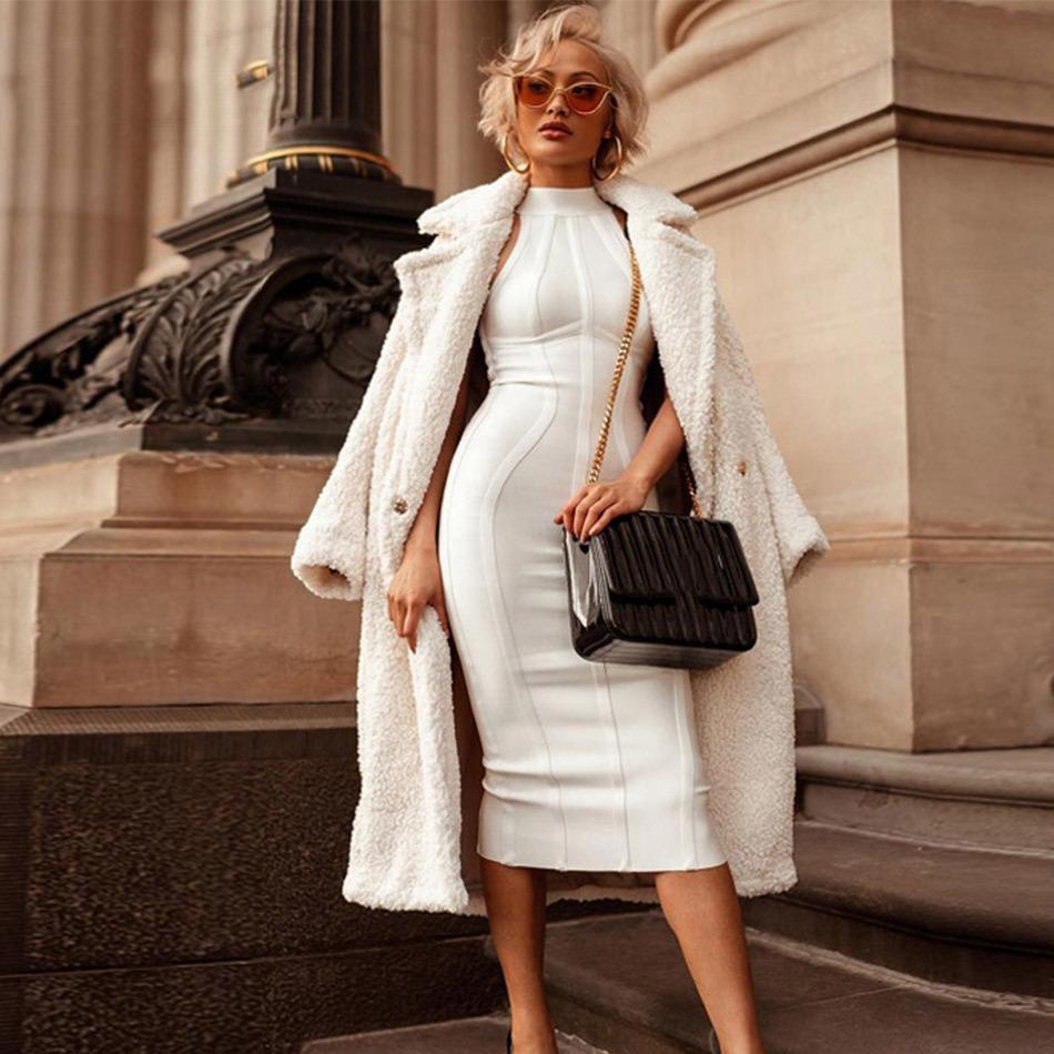 Seamyla сексуальные женщины белые танк бинтичны платье новых поступлений MIDI Bodycon повседневная без рукавов вечерние взлетно-посадочные клубы носить платья вечеринки Y0118